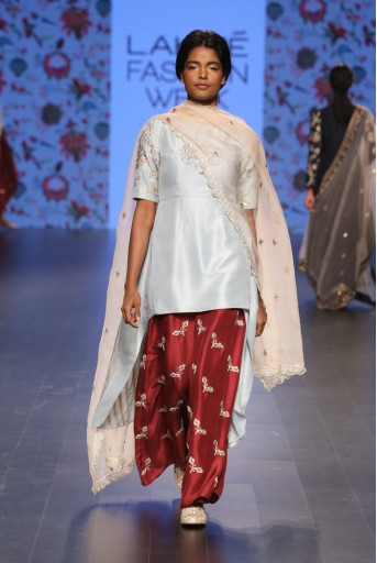 PS-FW387 Padmini Powder Blue Silk Kurta with Pomegranate Silk Palazzo and Blush Organza Dupatta