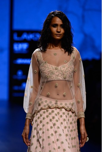 PS-FW418 Pakizah Blush Dupion Silk Choli with Lehenga and Net Overlay Top