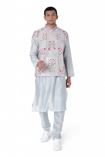 PS-MN296  Pale Blue Colour Dupion Silk Bandi with Silkmul Kurta and Churidar