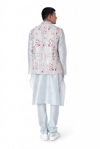 PS-MN296  Pale Blue Colour Dupion Silk Bandi with Silkmul Kurta and Churidar
