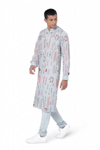 PS-FW767  Pale Blue Colour Georgette and Chanderi Stripe Kurta with Cotton Silk Churidar