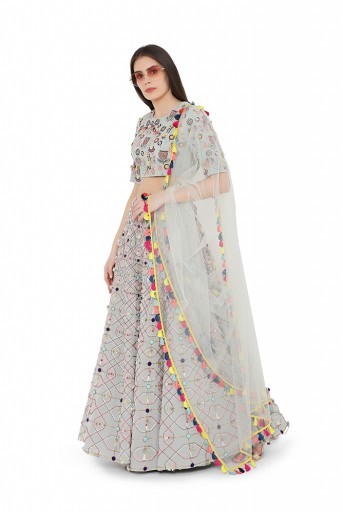 PS-FW726-B  Pale Blue Colour Georgette Back Tie-Up Choli and Lehenga with Net Dupatta