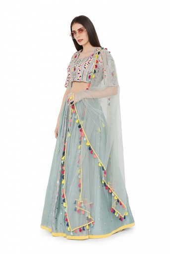 PS-LH0020-C  Pale Blue Colour Georgette Choli with Multi Brocade and Mukaish Silkmul Panelled Lehnega with Net Dupatta