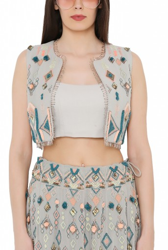 PS-FW678-B  Pale Blue Colour Georgette Short Jacket with Lehenga and Bustier