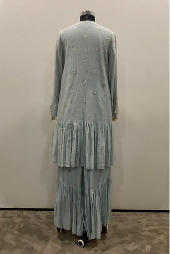 PS-KP0032-1  Pale Blue Colour mukaish silkmul Frill Hem Kurta with Frill Palazzo