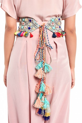 PS-BL004  Pale Blue Crepe Gota Oggee Embroidered Tie- Up Belt with Colourful Tassels