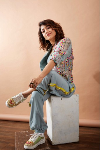 PS-FW721-B Pale Blue embroidered Jacket with Bustier and Jogger Pant Set