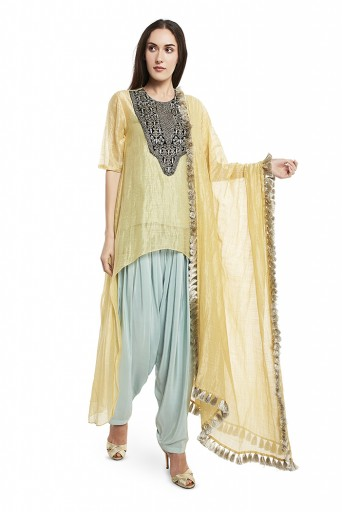 PS-FW575-C  Pale Yellow Colour Chanderi Stripe High-Low Kurta with Dupatta and Aqua Colour Silk Camisole with Salwar