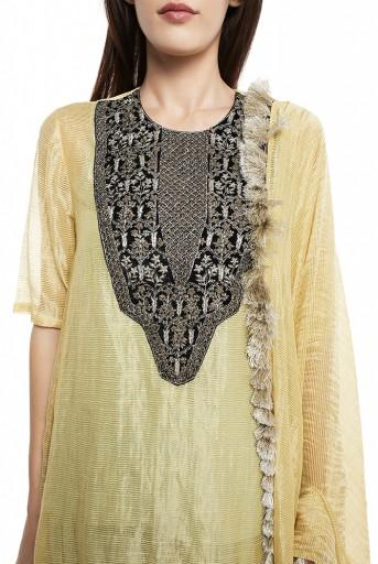 PS-FW575-C  Pale Yellow Colour Chanderi Stripe High-Low Kurta with Dupatta and Aqua Colour Silk Camisole with Salwar