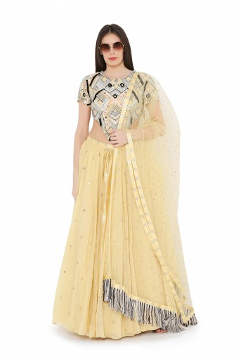 PS-FW692-C  Pale Yellow Colour Crepe Choli with Multi Brocade and Mukaish Silkmul Panelled Lehnega with Mukaish Net Dupatta