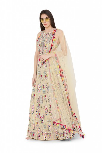 PS-LH0019  Pale Yellow Colour Georgette Back Tie-Up Choli and Lehenga with Net Dupatta