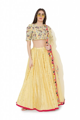 PS-LH0021-C  Pale Yellow Colour Georgette Back Tie-Up Choli with Multi Brocade and Mukaish Silkmul Panelled Lehnega with Net Dupatta