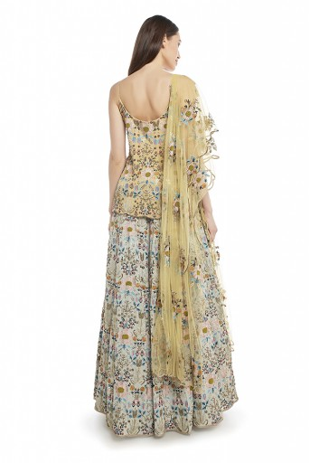 PS-FW542-A  Pale Yellow Colour Georgette Short Anarkali Top with Net Dupatta and Periwinkle Blue Colour Georgette Lehenga