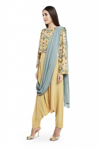 PS-ST1463  Pale Yellow Colour Georgette Top with Crepe Low Crotch Pant and Periwinkle Blue Colour Mukaish Georgette Attached Drape Dupatta