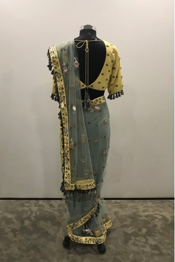PS-FW608/A/1  Pale Yellow Colour Silk Choli with Periwinkle Blue Colour Net Saree