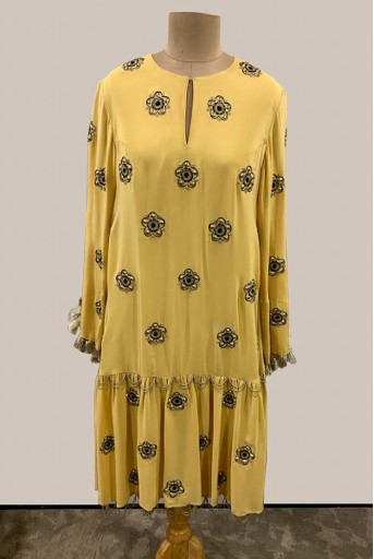 PS-ST1288-A-1 Pale Yellow Crepe Frill Hem Dress