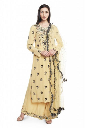 PS-FW603-C  Pale Yellow Crepe Kurta with Plaazzo and Mukaish Net Dupatta