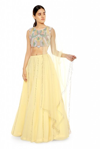 PS-ST1476  Pale Yellow Georgette Choli with Lehenga and Net Dupatta