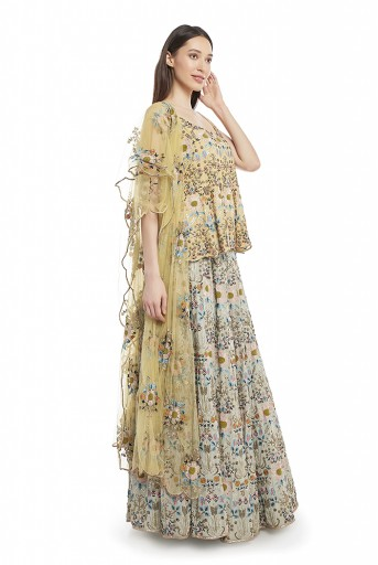 PS-FW542-A-1  Pale Yellow Colour Georgette Short Anarkali Top with Net Dupatta and Periwinkle Blue Colour Georgette Lehenga