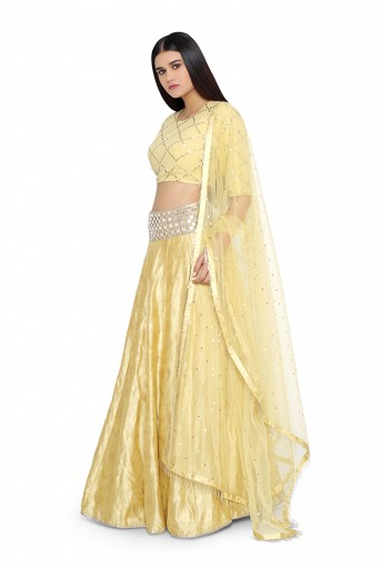 PS-ST1386-B-1  Pale Yellow Mukaish Georgette Choli with Brocade Lehenga and Mukaish Net Dupatta