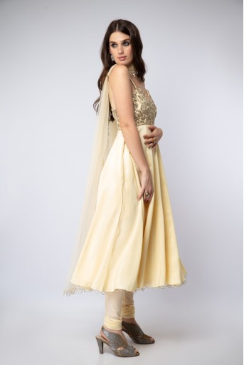 PS-ST1197 Pale Yellow Silk Anarkali with Soft Net churidar and Net Dupatta