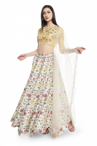 PS-FW549-G  Pale Yellow Silk Choli with Cream  Printed Dupion Silk Scallop Lehenga and Cream Net Dupatta