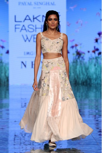 PS-FW729 Paniz Stone Choli and Asymmetric Lehenga