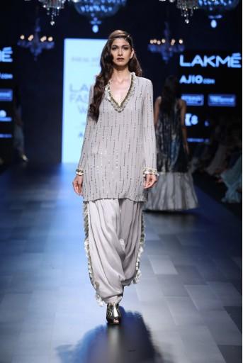 PS-FW445 Parisa Grey Mukaish Georgette Kurta with Silk salwar