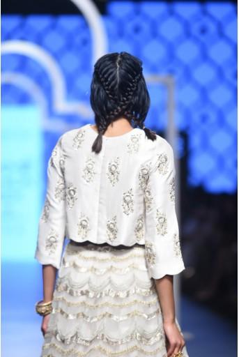 PS-FW484 Parvina Stone Silk Choli with Tulle Cropped Lehenga