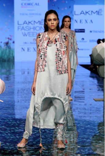 PS-FW707 Parviz Chalk White Georgette Jacket with Pale Blue Chanderi Stripe Kurta and Jogger Pant