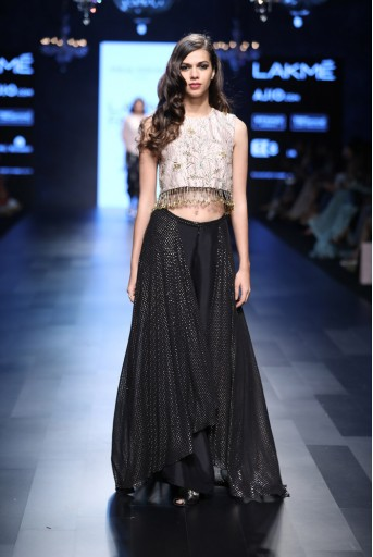 PS-FW448 Pasha Blush Silk Crop Top with Black Silk and Mukaish Georgette Palazzo Lehenga