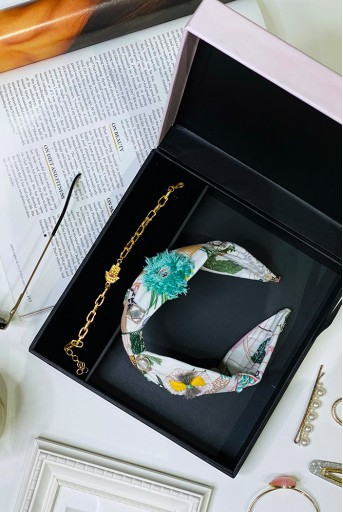 PSFC001 Payal Singhal X Flower Child By Shaheen Abbas - Hamza Hand Bracelet + Handcrafted Headband Gift Set