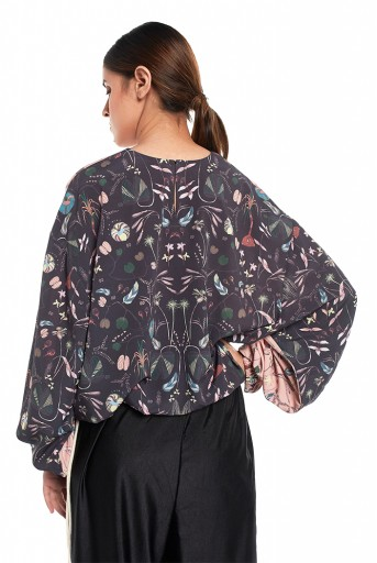PS-TP0036-F  Peach and Black Colour Printed Art Crepe Top with Drawstring Details