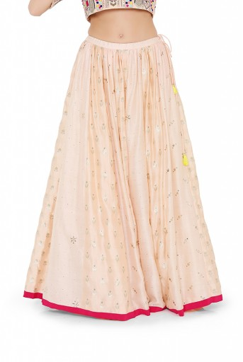PS-LH0020-D-1  Peach Colour Georgette Choli with Multi Brocade and Mukaish Silkmul Panelled Lehnega with Net Dupatta