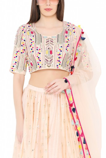 PS-LH0020-D  Peach Colour Georgette Choli with Multi Brocade and Mukaish Silkmul Panelled Lehnega with Net Dupatta