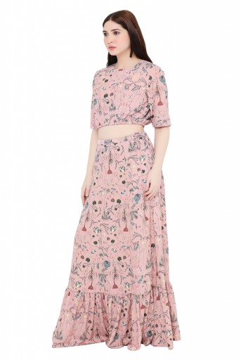 PS-FW615-CC  Peach Colour Printed Art Crepe Skirt Set