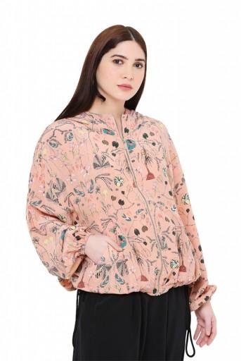 PS-JK0029-D-1  Peach Colour Printed Crepe Jacket