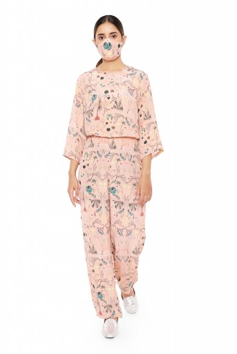 PS-PT0008  Peach Colour Printed Crepe Top with Jogger Pants and Matching Reversible 3 Ply Mask with Hairband and Pouch