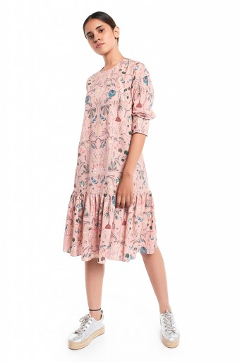 PS-TUA0043-A  Peach Printed Art Crepe Frill Hem Tunic