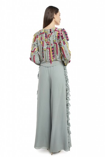 PS-TP0001-B  Periwinkle Blue Colour Georgette Crop Top with Palazzo Pant