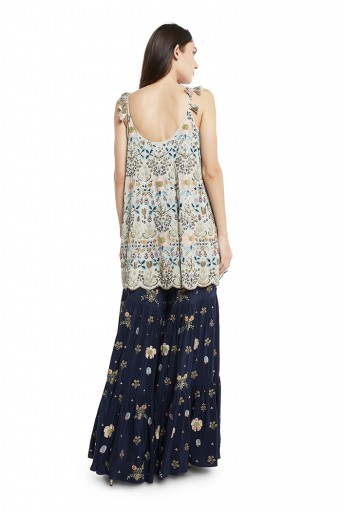 PS-FW538-M-2  Periwinkle Blue Colour Georgette Short Kalidar with Net Dupatta and Navy Colour Crepe Sharara