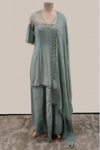 PS-KP0008-A-1 Periwinkle Blue Crepe and Organza Kurta with Palazzo and Chiffon Dupatta