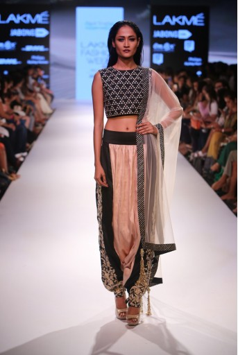 PS-FW355 Persis Black Dupion silk Crop Top with Blush and Black Low Crotch pant and tulle Dupatta