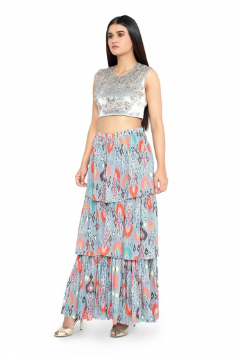 PS-FW613-N-1  Perwinkle Blue Colour Velvet Choli with Blue Printed Layered Sharara Pants