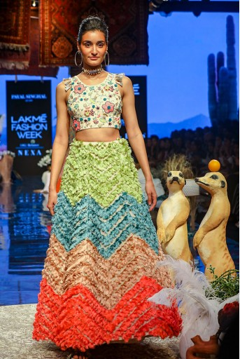 PS-FW673 Pia Stone georgette Back Tie-up Choli with Lehenga