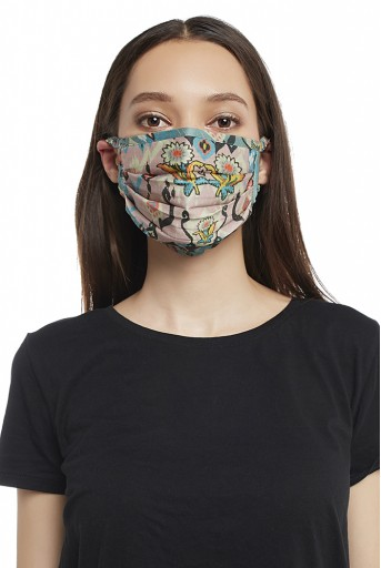 PS-MS0019 Pink and Blue Ikat Love Print Pleated 3 Ply Mask with Pouch