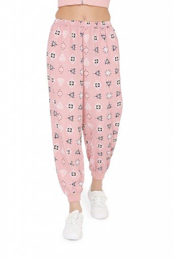 PS-FW796  Pink Colour Printed Art Crepe Back Tie-Up Bomber Jacket with Jogger pant