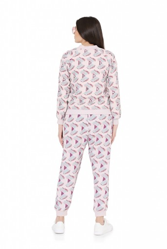 PS-FW811  Pink Colour Printed Art Crepe Bomber Jacket with Jogger Pant