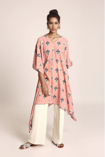 PS-TUA0029  Pink Colour Printed Art Crepe Kaftaan