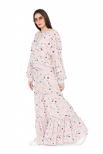PS-FW791  Pink Colour Printed Art Crepe Oversized Top with Frill Palazzo
